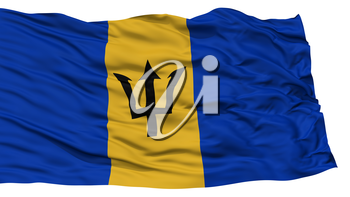 Isolated Barbados Flag, Waving on White Background, High Resolution
