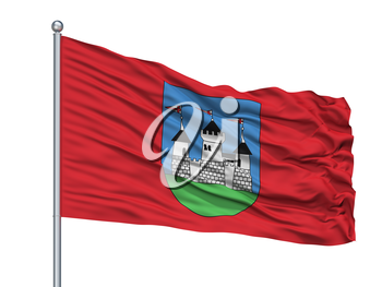 Miadziel City Flag On Flagpole, Country Belarus, Isolated On White Background, 3D Rendering