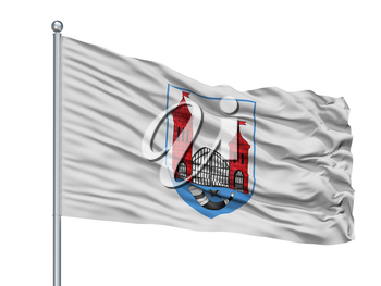 Skidal City Flag On Flagpole, Country Belarus, Isolated On White Background, 3D Rendering