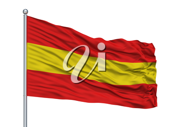 Herkdestad City Flag On Flagpole, Country Belgium, Isolated On White Background, 3D Rendering