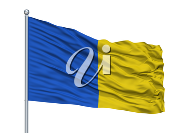Saint Gilles Lez Bruxelles City Flag On Flagpole, Country Belgium, Isolated On White Background, 3D Rendering
