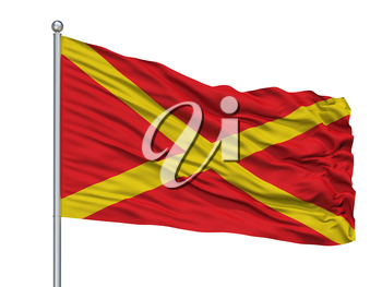 Virton City Flag On Flagpole, Country Belgium, Isolated On White Background, 3D Rendering