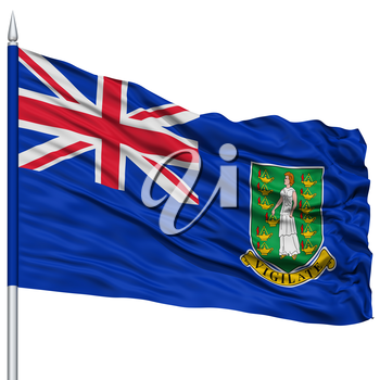 British Virgin Islands Flag on Flagpole, Flying in the Wind, Isolated on White Background