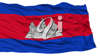 Isolated Cambodia Flag, Waving on White Background, High Resolution