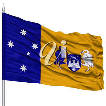 Canberra City Flag on Flagpole, Capital City of Australia, Flying in the Wind, Isolated on White Background