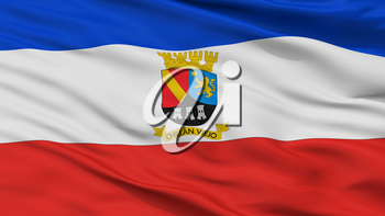 Chillan Viejo City Flag, Country Chile, Closeup View, 3D Rendering