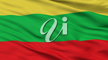 San Ramon City Flag, Country Chile, Closeup View, 3D Rendering