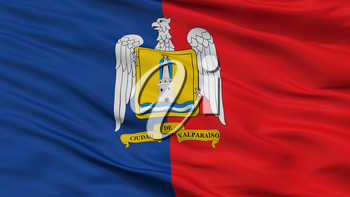 Valparaiso City Flag, Country Chile, Closeup View, 3D Rendering