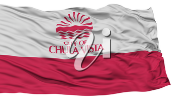 Isolated Chula Vista City Flag, City of California State, Waving on White Background, High Resolution