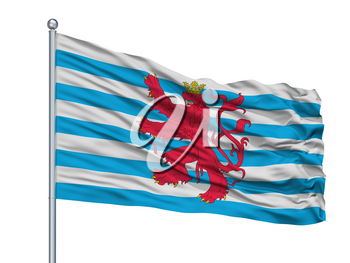 Civil Air Ensign Of Luxembourg Flag On Flagpole, Isolated On White Background, 3D Rendering