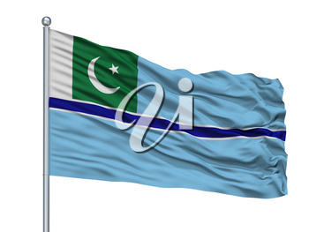 Civil Air Ensign Of Pakistan Flag On Flagpole, Isolated On White Background, 3D Rendering