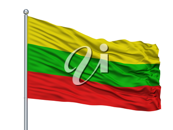 Ibague City Flag On Flagpole, Country Colombia, Isolated On White Background, 3D Rendering