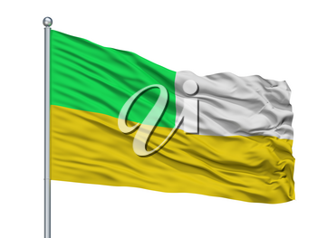 Sabanalarga City Flag On Flagpole, Country Colombia, Atlantico Department, Isolated On White Background, 3D Rendering