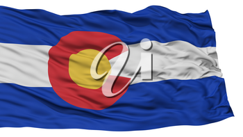 Isolated Colorado Flag, USA state, Waving on White Background, High Resolution