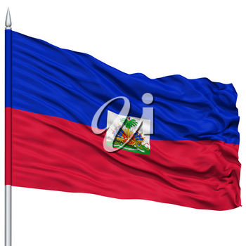 Haiti Flag on Flagpole , Flying in the Wind, Isolated on White Background