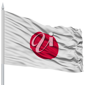 Japan Flag on Flagpole , Flying in the Wind, Isolated on White Background