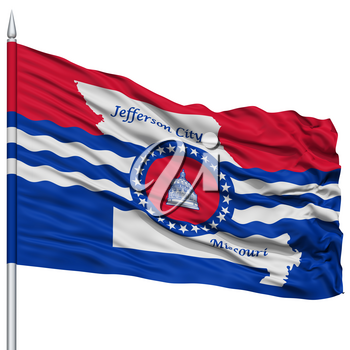 Jefferson City Flag on Flagpole, Capital of Missouri State, Flying in the Wind, Isolated on White Background