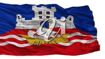 Belgrade City Flag, Country Serbia, Isolated On White Background, 3D Rendering