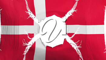 Denmark flag with a hole, white background, 3d rendering