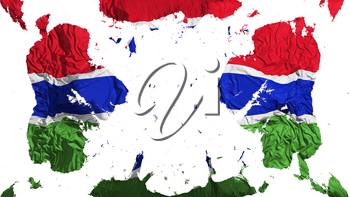 Scattered Gambia flag, white background, 3d rendering