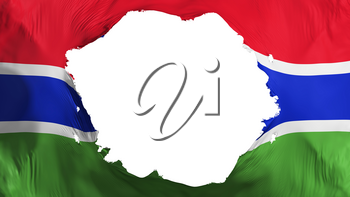 Broken Gambia flag, white background, 3d rendering