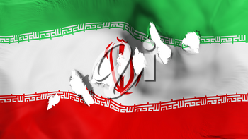 Iran flag perforated, bullet holes, white background, 3d rendering