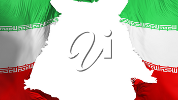 Iran flag ripped apart, white background, 3d rendering