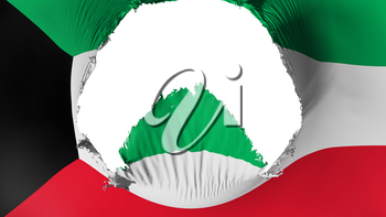 Big hole in Kuwait flag, white background, 3d rendering