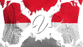 Monaco torn flag fluttering in the wind, over white background, 3d rendering