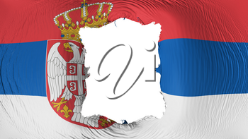 Square hole in the Serbia flag, white background, 3d rendering