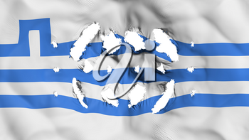 Podgorica city, capital of Montenegro flag with a small holes, white background, 3d rendering