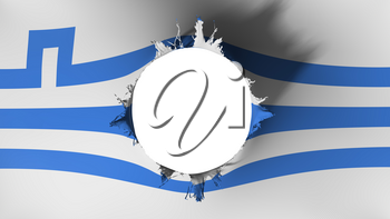 Podgorica city, capital of Montenegro flag ripped apart, white background, 3d rendering