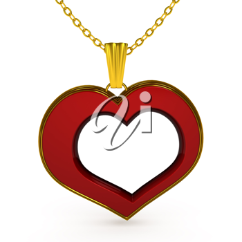 Royalty Free Clipart Image of a Heart Necklace
