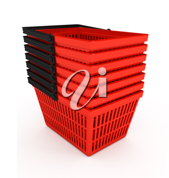 Royalty Free Clipart Image of a Stack of Shopping Baskets