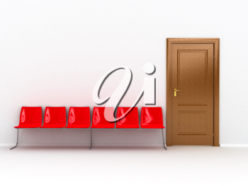 Royalty Free Clipart Image of a Wooden Door