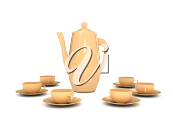 Royalty Free Clipart Image of a Teapot and Tecups
