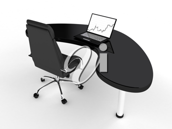 Royalty Free Clipart Image of a Desk With a Laptop