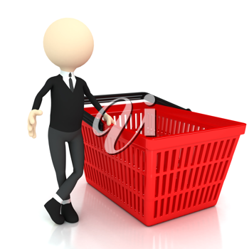 Royalty Free Clipart Image of a Person With a Shopping Basket