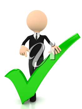 Royalty Free Clipart Image of a Businessman With a Checkmark