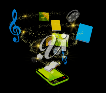 Royalty Free Clipart Image of a Mobile Media Concept
