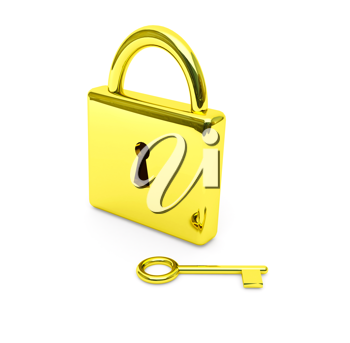 Royalty Free Clipart Image of a Lock and Key