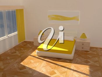 Royalty Free Clipart Image of a Bedroom