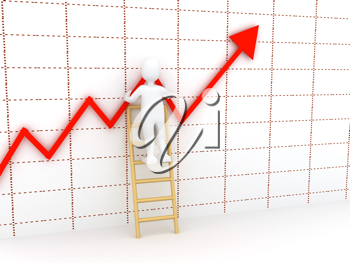 Royalty Free Clipart Image of a a Person on a Ladder By a Chart