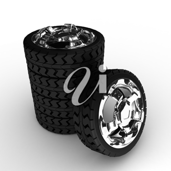 Royalty Free Clipart Image of a Stack of Wheels