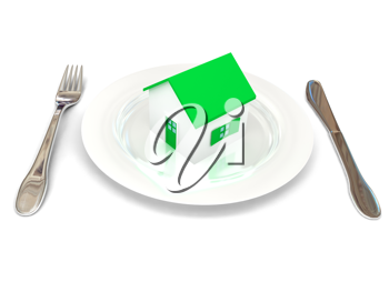 Royalty Free Clipart Image of a House on a Plate