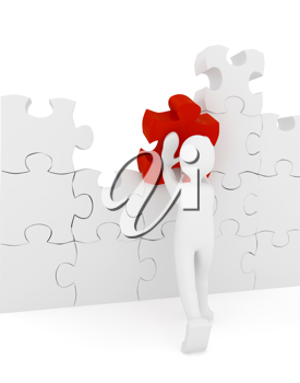 Royalty Free Clipart Image of a Person With a Puzzle