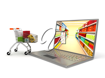 Royalty Free Clipart Image of an Internet Shopping Concept