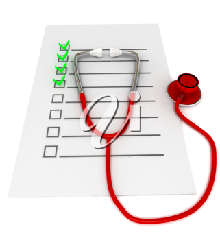 Royalty Free Clipart Image of a Stethoscope on a Checklist