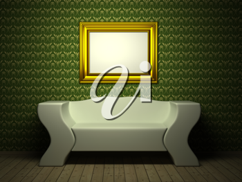 Royalty Free Clipart Image of a Room With a Picture
