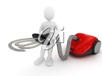 Royalty Free Clipart Image of a Person Using a Vacuum Cleaner